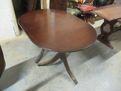 Retro Mahogany Veneer Extending Dining Table Claw Feet Castors May Deliver