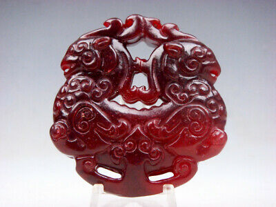 Vintage Nephrite Jade Carved Pendant Sculpture Double Monster Phoenix #05121907