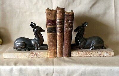 A Pair Of Art Deco Deer Bookends On Marble Bases