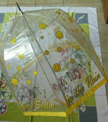 "Vintage 1960's 1970's Smiley Face Clear Vinyl Umbrella Just Smilin"" In the Rain"