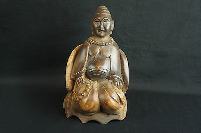 "Great antique/ vintage south asian carved wood sitting Buddha 7"" [Y8-W7-A8]"