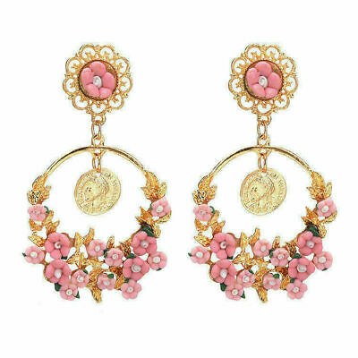Vintage Exaggerated Flower Big Circle Ear Stud Drop/Dangle Earrings Jewelry
