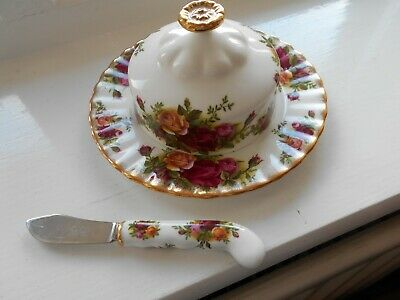 ROYAL ALBERT OLD COUNTRY ROSES - BUTTER DISH and SPREADER