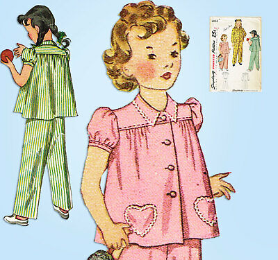 1940s Vintage Simplicity Sewing Pattern 2054 Easy Toddler Girls Pajamas Size 4