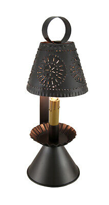 Zeckos Smokey Black Finish Colonial Style Punched Tin Accent Lamp