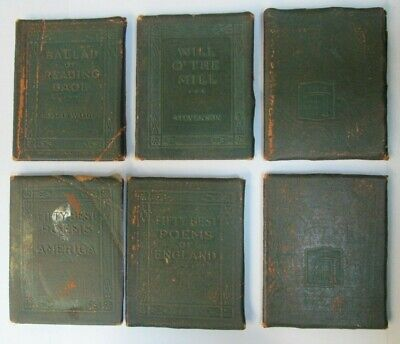 Antique Green Little Leather Library NY 1920 s Miniature Books Lot of 15