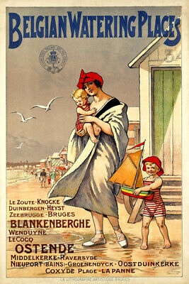 Belgian Watering Places Mother And Children At The Beach Vintage Poster Repro