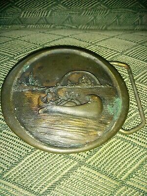 Vintage Canoe Indiana Metal Craft 1976 Solid Brass Belt Buckle
