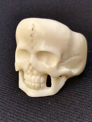 Human Skull Mortality Ring : Memento mori : hand carved bone (Bos taurus)  small