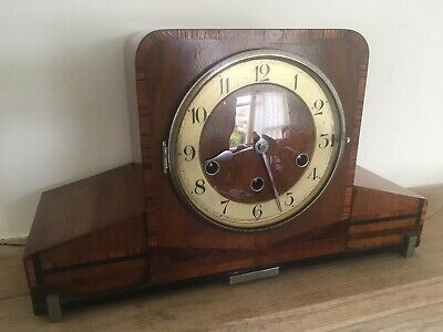 Antique HALLER 1920s 30s Art Deco Mantel Piece Chiming Clock Fully Working