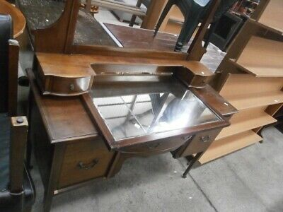 antique vintage mahogany inlaid mirrored dressing table