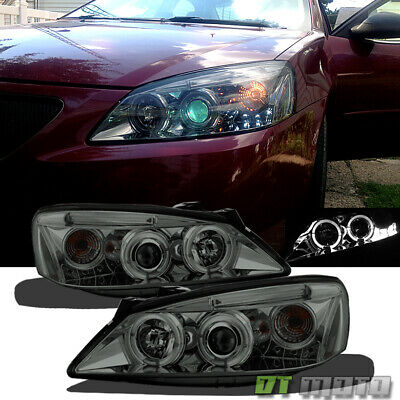 Smoked 2005-2010 Pontiac G6 LED Halo Projector Headlights Head Lamps Left+Right