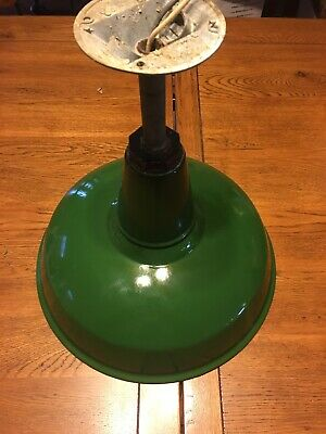 "Vintage Green Benjamin Porcelain Enamel Light Fixture 14"" Barn Industrial Shade"