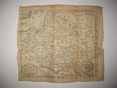 Antique 1792 Poland Lithuania Prussia Germany Ukraine Copperplate Map Red Russia