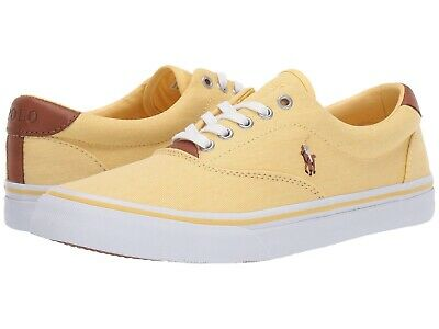 063b050b56 NEW MEN'S POLO Ralph Lauren Thorton Yellow Washed Twill Sneakers Shoes Size  10 D