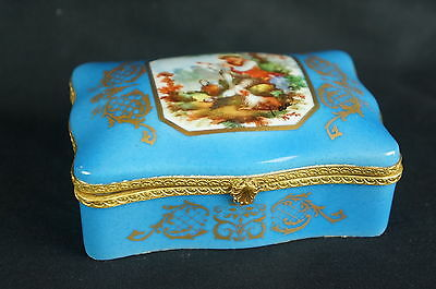 "Superb Exceptional antique hand painted French box-ca. 1920, 4"" [Y8-W6-A9]"