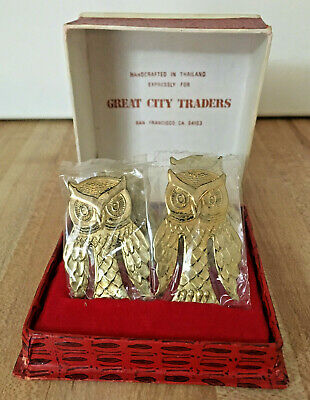Vintage Great City Traders Metal Owl Bookmarks Set of 4 in Box Gold Tone NEW