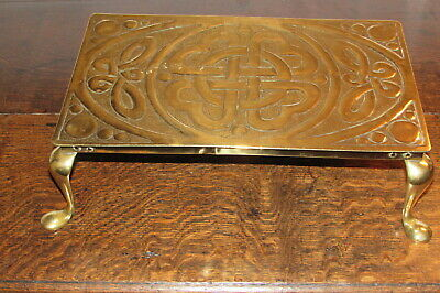 Antique Irish Arts & Crafts brass Trivot Celtic Revival pant/fire stand c1900