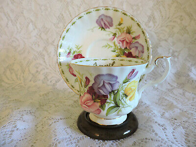 Royal Albert Footed Sweet Pea APRIL Bone China Teacup & Saucer - No Chips