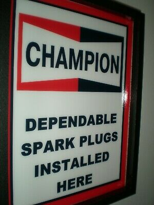 Champion Spark Plugs Gas Station Mechanic Garage Man Cave Lighted Sign