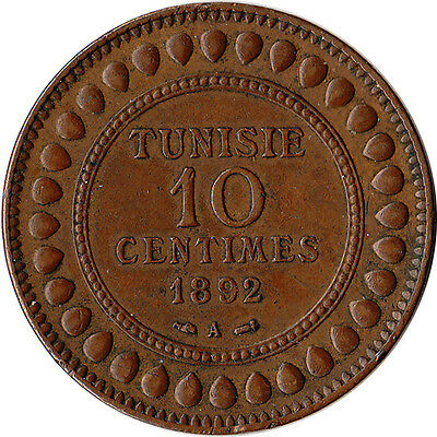 1892 (AH1309) Tunisia (French) 10 Centimes Large Coin KM#222