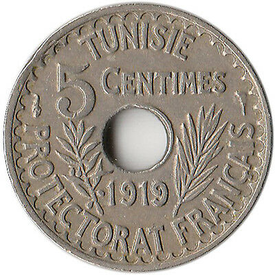 1919 (AH 1337) Tunisia (French) 5 Centimes Coin KM#242