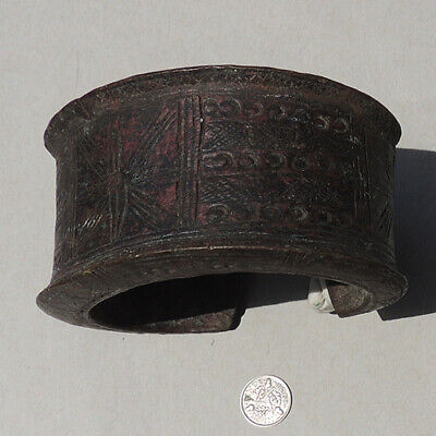 an old antique decorated large copper african bracelet nigeria #175
