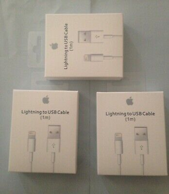 3 x Genuine oem  Apple Lightning to USB Charger Cable for iPhone 6s/Plus/5/SE/7