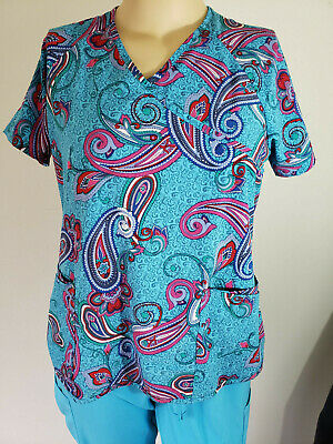 76a3bfd9205 Turquoise Womens Paisley Scrub Top polyester L Easy Stretch Butter Soft by  UA