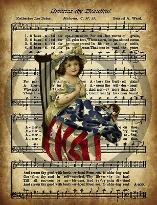 Primitive America The Beautiful Flag Betsy Ross Americana Patriotic Print 8x10
