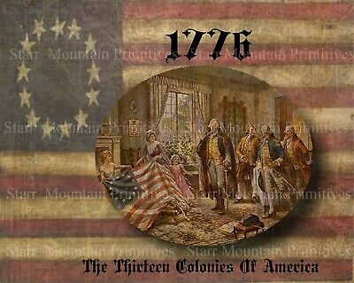 Primitive 1776 American Flag Betsy Ross Americana Patriotic 13 colony Print 8x10