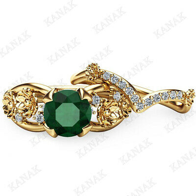 1.25 Ct Round Cut Emerald 10K Solid Yellow Gold Flower Engagement Band Ring Set
