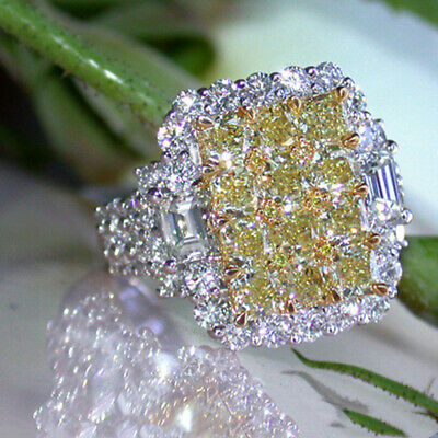 Luxury Women 925 Silver Huge Citrine Princess Cut Ring Wedding Jewelry Gift Chic