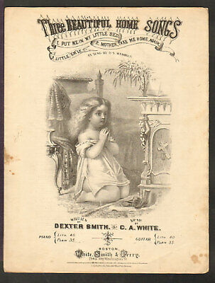 Put Me IN My Little Cama 1870 Little Girl Litho Antiguo Música Hoja Q13