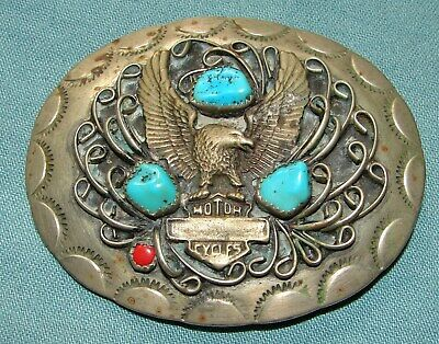 "Vintage Motorcycles Silver & Turquoise 3"" Belt Buckle ~ Southwest Style"