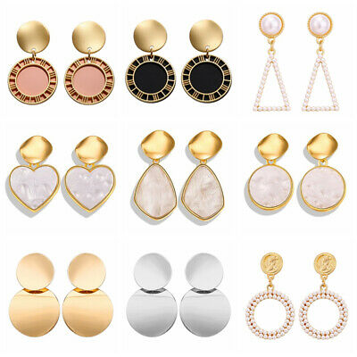 Fashion Boho Round Earrings Women Metal Geometric Pearl Dangle Earrings Jewelry