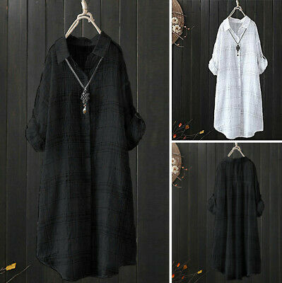 Women Casual Stripe Plaid Check Long T-Shirt Tops Lady Buttons Down Loose Blouse