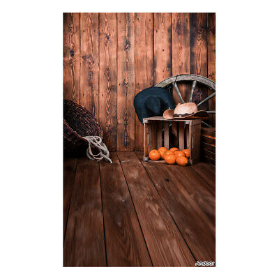 Andoer 1.5 * 0.9m/5 * 3ft Farm Theme Photography Background Wood Floor Wall H3G2