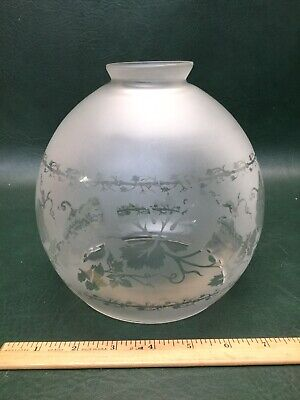 Antique Victorian Grapes & Vines Acid Etched Round Globe Oil Lamp Shade