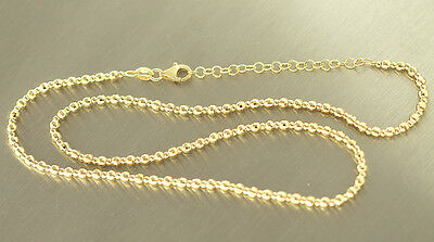 Solid Silver Chain 925 Plated Faceted Ball Chain Real Silver Gold Chain