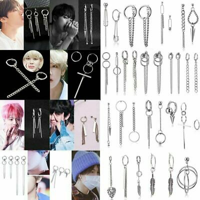 Hot Punk Boys Korean Tassels Earrings Bangtan Boys Ear Stud Doulbe Cross Ring