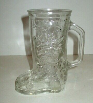 """Vintage Classic Heavy Glass Western Cowboy Boot Mug With Handle 6"""" Tall"""