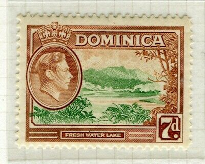 DOMINICA; 1938 early GVI issue fine Mint hinged 7d. value
