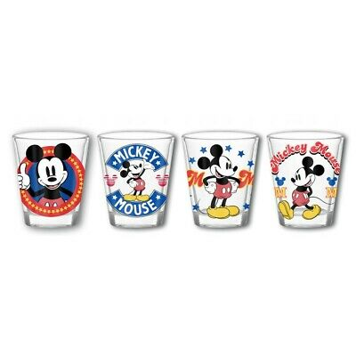 Mickey Mouse 4 Pack Shot Glasses Clear