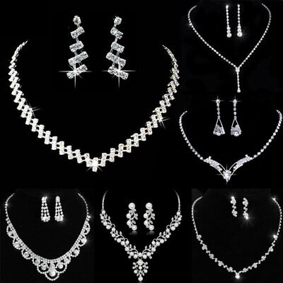Chic Wedding Bridal Crystal Rhinestone Women Necklace Earrings Set Jewelry Hot