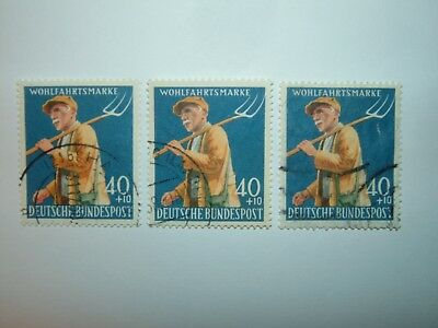 1958 WEST GERMANY HUMANITARIAN RELIEF FUND 40pf+10pf x 3 VFU (sg1217) CV £36