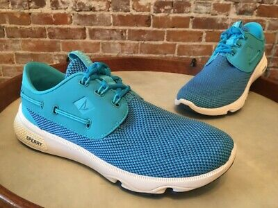 Sperry Top Sider Blue Water Mesh Laced 7 Seas 3-eye Boat Shoe Sneaker 9 40 NEW