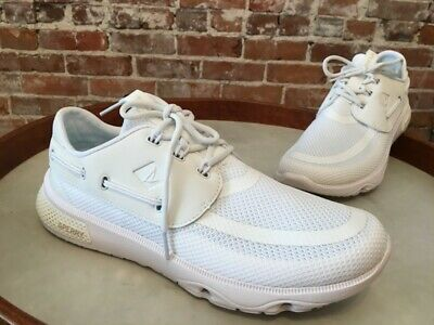 Sperry Top Sider White Mesh Laced 7 Seas 3 eye Boat Shoe Sneaker 9 40 NEW