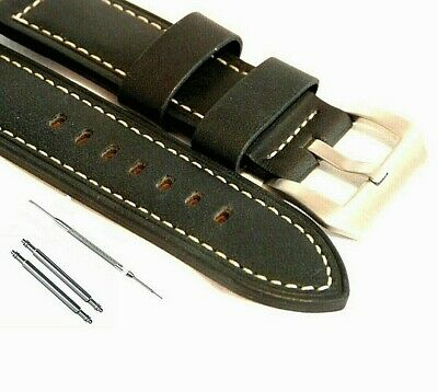 Premium Oiled Leather Watch Strap Black 20 22 & 24mm suit Panerai & Other Large