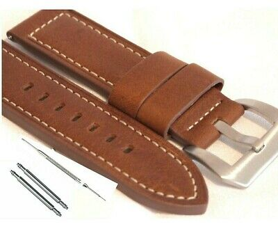 Premium Oiled Leather Watch Strap Brown 20 22 & 24mm suit Panerai & Other Large